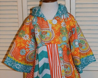Hooded Dress in Orange and Aqua
