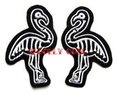 Skeleton Flamingo patch sew on Pair in white by Dolly Cool