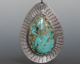 Royston Turquoise Pendant Necklace, Boulder Turquoise Pendant Necklace in Sterling Silver Metalwork