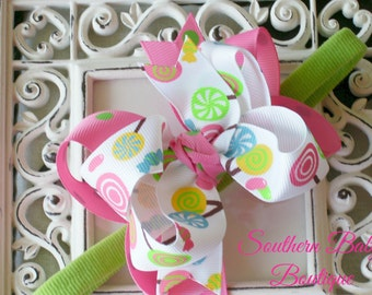 New Item----MINI Boutique Double Layered Hair Bow Headband---Candy Shop---Hot Pink and Lime Green----