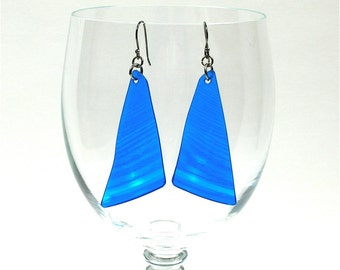 Blue Colored Vinyl Record Album Earrings Triangle Shape Translucent