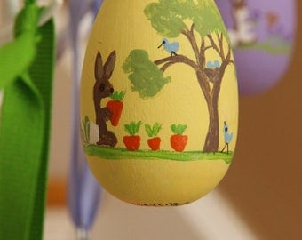Yellow Hand Painted Wooden Easter Egg Ornament Ready to be Personalized-pick your color