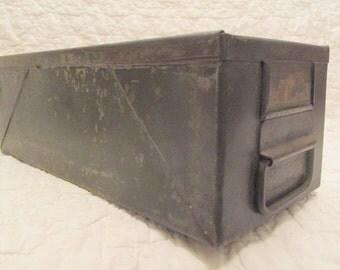 Vintage Metal Bin Industrial Storage Heavy Metal Rusty Tray Industrial Machine Shop Green