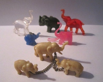 Vintage Lot of 8 Miniature Plastic Elephant Collectible Figurines from Midwest Estate