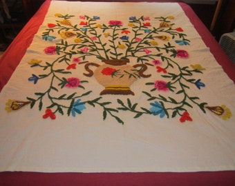 Vintage Colorful 50x73 Crewel Chinoserie Floral Embroidery Panel No.1