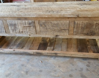 Ready to ship Rustic Barn Wood Entertainment Cabinet with a Shelf and 4 Drawers with FREE SHIPPING - BWVS4D1050C