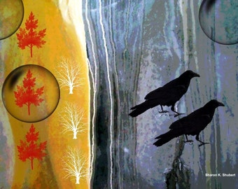 Crow Art, Southwestern Wildlife, Golden Yellow, Red Gray, Digital Artwork Totem Animal, Home Decor, Trees Wall Hanging, 8 x 10, Giclee Print