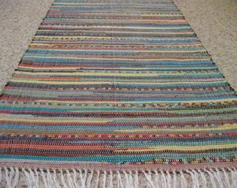 Handwoven Dark Bright Multi Rag Rug 25 x 80