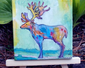 deer original mini painting, home decor