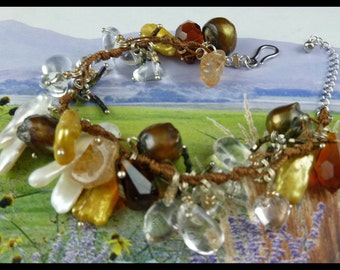 Hand Made Exotic Women's Sterling Silver Multi-Crystal Gemstones and Stick Pearls Bracelet - Free U.S. Shipping