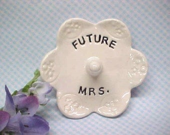 Engagement Ring Dish, Future Mrs, Wedding Ring Holder, Jewelry Storage, Gift for Her, Anita Pottery
