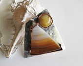 Earth Tone Agate Necklace with Sterling and Copper