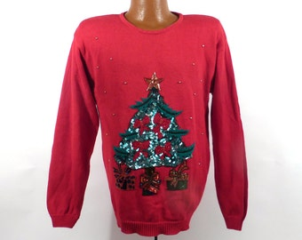 Ugly Christmas Sweater Vintage 1980s Tree  Holiday Tacky Xmas Party Women's size L