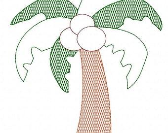 Vintage Palm Tree Embroidery Applique Design