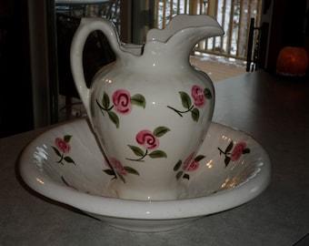 Stangl Pottery large Antique Pitcher & Bowl Set Rose Motif hand painted roses vanity set
