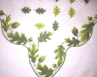 Vintage White Handkerchief with Green Leaves