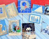 Blue is the Hue in Outstanding Hand Colored McNicol Unused 1930s Cards in Vintage Christmas Card Lot No 816 Total of 10