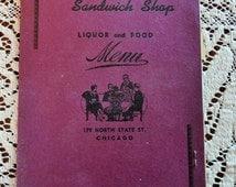 The 1940s 1950s Diner Menu Vintage Bob Ellmans Sandwich Shop State St Chicago Used Geo Cohons Rye Bread