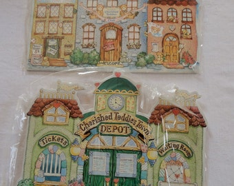 Cherished Teddies Stand Up Back Drops for Town Hall and Teddies Town Depot Unused Lot of 2