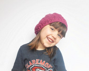 Girls Lacy Slouch Beanie Hat in Antique Rose, ready to ship.