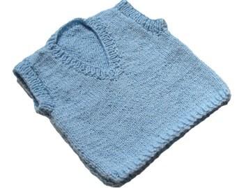 Blue Vest Baby Boy Clothing Hand Knit