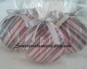 Pink and Gray Chocolate Covered Oreos Cookies Wedding Favors It's A Girl Pink Gray Baby Shower Christening Pink Gray Sweet 16 Party