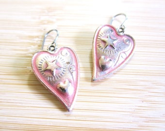 Country Western Cowgirl Hand Painted Heart Star Earrings Blue or Coral Pink