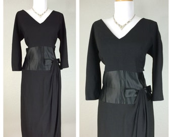 Vintage 1950s Black Rayon Hannah Troy Hourglass Cocktail Party Dress