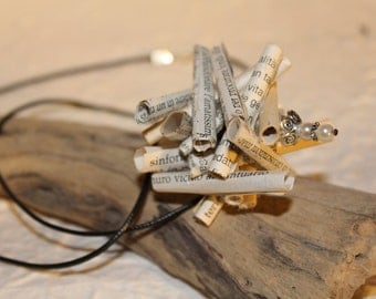 """Necklace with little sculpture of """"book art"""""""