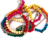Vintage Multi-strand rainbow wooden beads and gold-tone chain necklace - multi-coloured