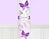 Canvas GROWTH CHART Pretty Purple Butterfly Garden Girls Bedroom Baby Nursery Bedroom Wall Art GC0016