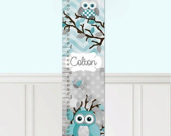 Canvas GROWTH CHART Teal and Grey Chevron Dots Owls Kids Bedroom Nursery Personalized Kids Growth Chart Height Chart GC0279