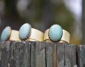 Chrysoprase Ring, Chrysoprase, Brass Ring, Adjustable, Mint Green, Green Gemstone Ring