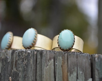 Chrysoprase Ring, Chrysoprase, Brass Ring, Adjustable, Mint Green, Green Gemstone Ring