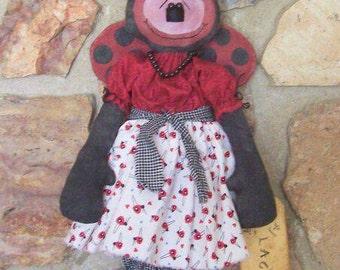 """PriMiTiVe Garden Lady Bug Art Doll """"Lacey"""" ofg hafair faap"""