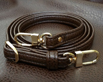 """BROWN Premium Faux Leather Purse Strap - 1/2"""" Wide - Gold or Nickel #16LG Hooks - Choose Adjustable Length"""