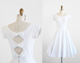 vintage 1950s dress / 50s wedding dress / White Cotton Pique Cutout Bows Dress