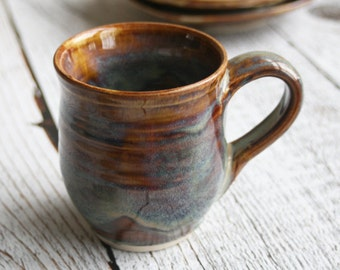 Rustic Pottery Mug in Earthy Amber Glazes Handmade Stoneware Coffee Cup Made in USA Ready to Ship