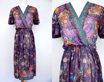 1970s Purple Floral Boho Dress Plunging Novelty Print Semi Sheer Small Medium Short Sleeve