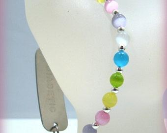 Rainbow Pastel Cats Eye Glass Beaded Medical ID Tag Bracelet