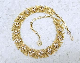 vintage LISNER necklace, gold tone, rhinestones, signed, geometric design, vintage jewelry