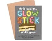 Funny Glow Stick Birthday Card | Funny Birthday Candle Card | Funny Old Person Card - Glow Stick