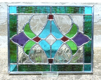 Stained Glass Panel in Sky Blue, Spring Green, Purple and Red Violet