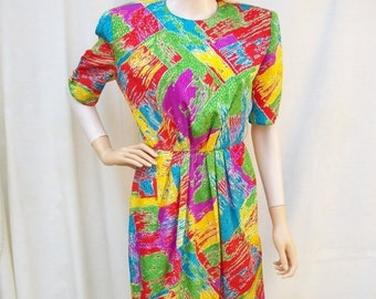 SALE 80s Colorful Abstract Dress size Small Caron of Chicago