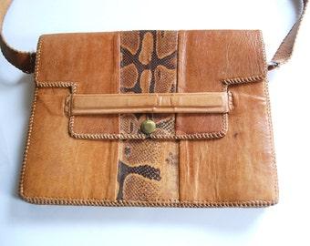 Vintage Leather Purse, Snake Skin