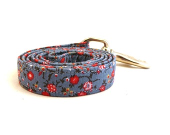 """Blue floral dog leash - Blue and red floral pet lead - Floral pet lead - Blue Flowerfield dog leash - 3/4"""" wide x 3.8 foot long"""