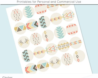 """Tribal Geometric Digital Collage Sheets 1"""" 1.25"""" and 1.5 Inch Circles Printable Download for Pendant Magnet Bottle Cap Necklaces Crafts JPG"""