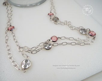 Swarovski Crystal Necklace · Swarovski Crystal Pendant Necklace · Rose Channel Drops · Silver Plate Charms · Long Chain · Gift for Her