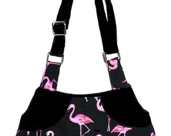 Pink Flamingos on Black - Adj Strap, Hipster, Purse, Shoulder Bag, Across Body, Hands Free, Lots of Pockets