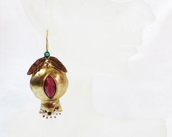Pomegranate bronze earring fresh water pearl rhodochrosite semi precious stone